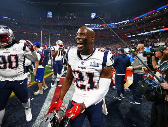 Patriots safety Duron Harmon celebrates after defeating the Rams in Super Bowl LIII on Feb. 3, 2019 in Atlanta.