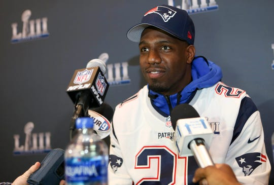 Patriots safety Duron Harmon addresses the media before Super Bowl LIII on Jan. 31, 2019 in Atlanta.
