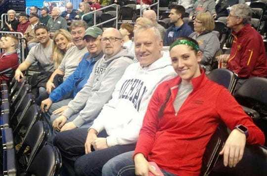 From left: Branden Vicari, Kelly Vicari (Branden's wife and Terry Lewis' daughter), Terry Lewis, Barry Rutgers, Tim McLean, Bob Corstange and Nicole Corstange (Bob's daughter), at an NCAA Tournament game in Denver in 2016. The group watched Arkansas Little Rock upset Purdue, 85-83, in double overtime.