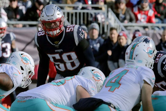Linebacker Jamie Collins (58) has spent parts of five seasons in New England.
