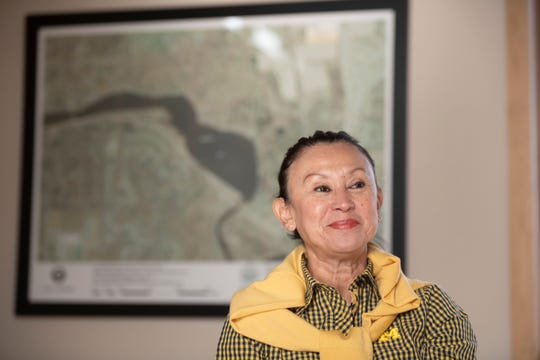 Alicia Torres, president of the board of trustees for Barton Hills Village, sits in front of a map of the village, March 5, 2020.