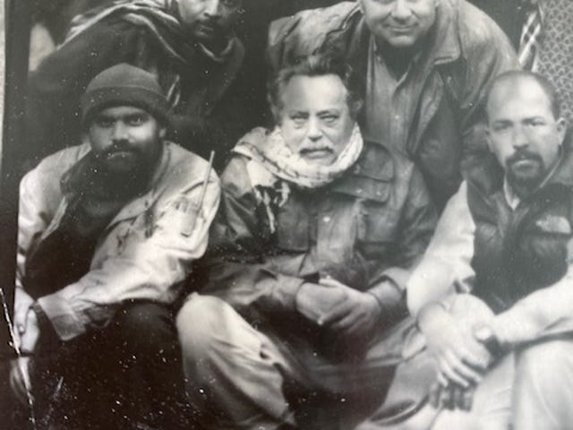 """Larry Doyle wrote, """"With my Afghan team 2001. We were holed up in a town under the control of the northern alliance, waiting to advance against the Taliban. One day a photographer came to town...wooden tripod, box camera and snapped us."""""""