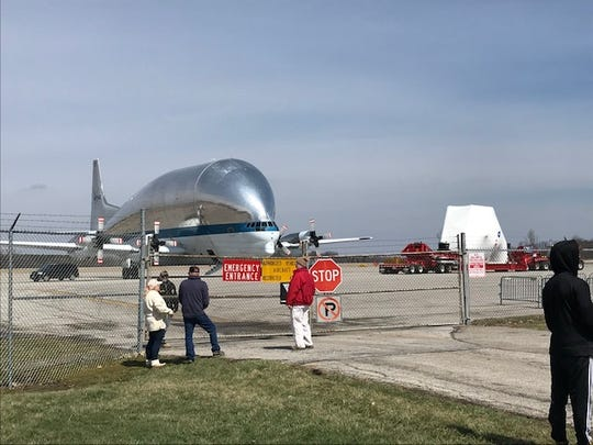 After undergoing testing at NASA's Plum Brook Station, the Orion space capsule returned to Mansfield Lahm Regional Airport on Sunday. It will be loaded onto NASA's Aero Spacelines Super Guppy on Monday.
