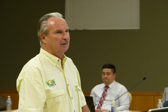 Public Works Director Timothy Pinter speaks during a Marco Island City Council meeting on March 16, 2020.