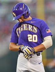 Left fielder Antoine Duplantis #20 of the LSU Tigers during Game 1 of the College World Series Championship against the Florida Gators on June 26, 2017 at TD Ameritrade Park in Omaha, Nebraska.