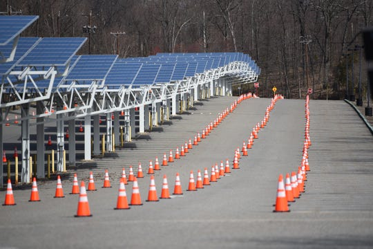 At Parking Lot 4, cones are set up for cars to pass through  for testing for Coronavirus at William Paterson University in Wayne on 03/22/20.