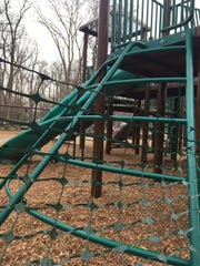 A playground surrounded by plastic fencing to keep children out at Saddle River County Park in Ridgewood on Saturday, March 21.
