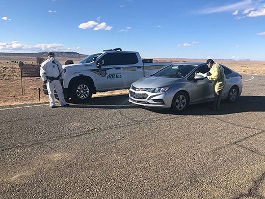 The Navajo Police Department checkpoint near Chilchinbeto, Arizona, is seen on March 21, 2020.