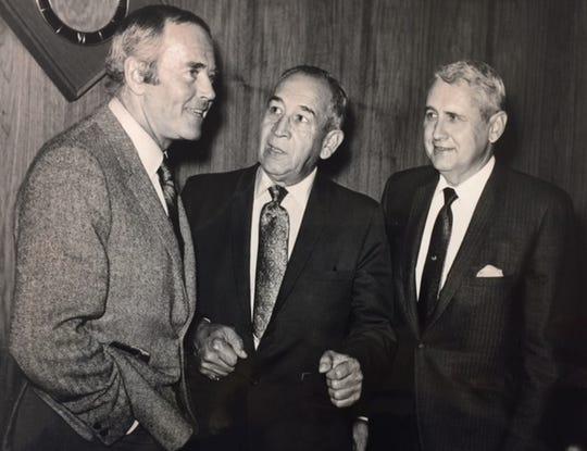 Actor Henry Fonda, left, Dr. Reynaldo Carreón, center, and an unidentified man.