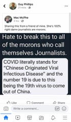 Scottsdale City Councilmember Guy Phillips shared a post with false information about the abbreviation for COVID-19, also known as coronavirus.