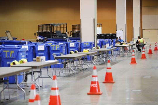 Barrels are marked for donations at the Phoenix Convention Center on March 22, 2020. Unused medical supplies were collected to help with the coronavirus outbreak. The supply drive will run through Friday, March 27, from 9 a.m. to 3 p.m.