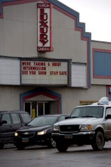 "The marquee at Luxury Cinemas in Huron, South Dakota on Sunday, March 22, tells residents to ""stay safe."""