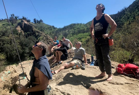 A group of climbers belay their friends at Malibu Creek State Park on Saturday, March 21, 2020.