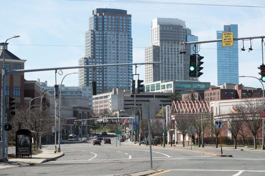 Westchester Avenue headed into downtown White Plains with very little traffic  in the early afternoon March 21, 2020.
