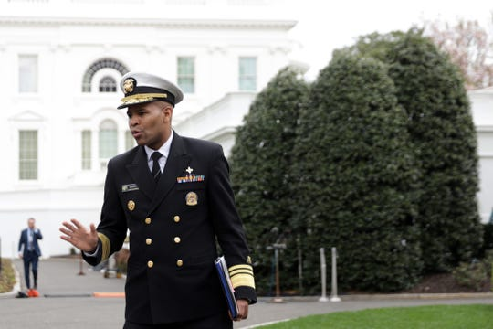 Surgeon General Jerome Adams at the White House on March 20, 2020.