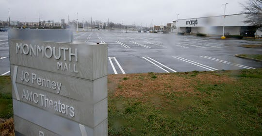 Empty parking lots at the Monmouth Mall in Eatontown shown Monday, March 23, 2020