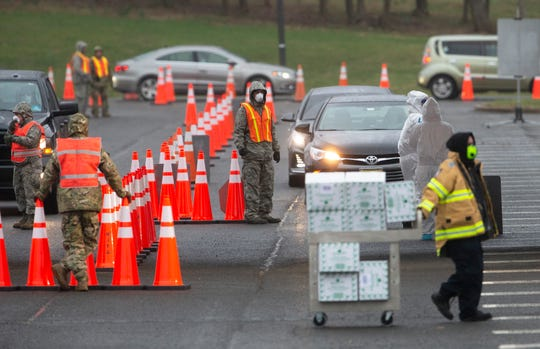 Scene of  second NJ/FEMA coronavirus drive-thru test site is opening this morning at PNC Arts Center in Holmdel on March 23, 2020.