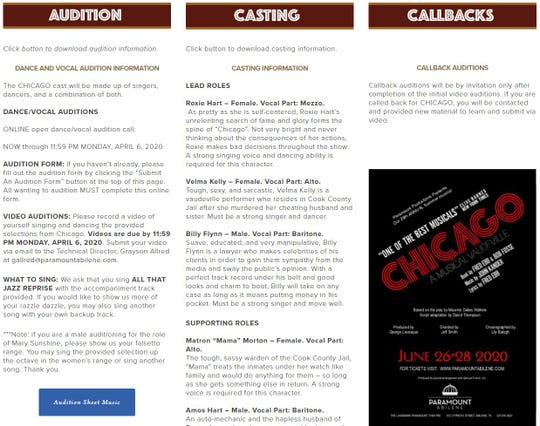 A screen shot of the audition page on the Paramount Theatre website.