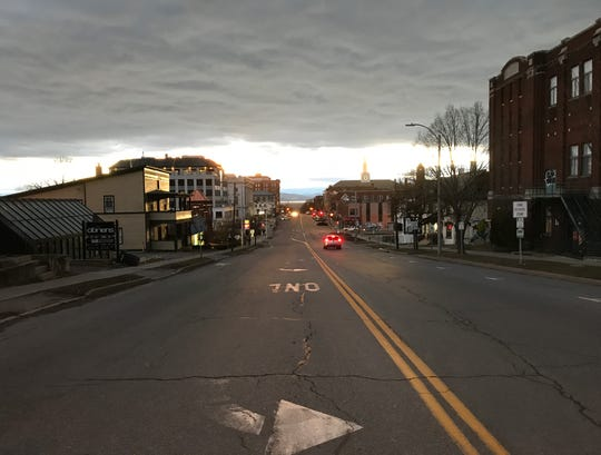 Quiet Friday night: Burlington's Main Street is uncharacteristically devoid of traffic at 7:15 p.m. on March 20, 2020. The city's restaurants, clubs and pubs are closed due to public health concerns over COVID-19.