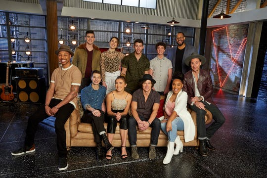 Back from left: Michael Williams, Joana Serenko, Nick Jonas, Tate Brusa and Roderick Chambers; front from left: Samuel Wilco, Jacob Miller, Allegra Miles, Kevin Farris, Arei Moon, and Anders Derup.