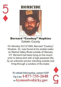 """A playing card from the Kentucky State Police tells about the unsolved murder of Bernard """"Cowboy"""" Hopkins."""