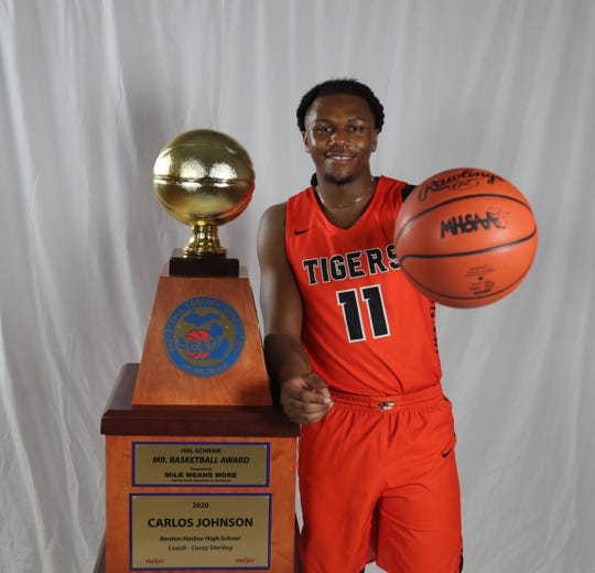 Benton Harbor's Carlos Johnson was named Michigan Mr. Basketball at the State Champs offices Monday, March 23, 2020.