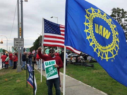 Trent DeSenglau, UAW plant chairman at American Axle Manufacturing in Fraser, pictured here in Fall 2019 during the strike against General Motors, has been pleading with the parts manufacturer to shut down production because he said workers are reporting symptoms of coronavirus.