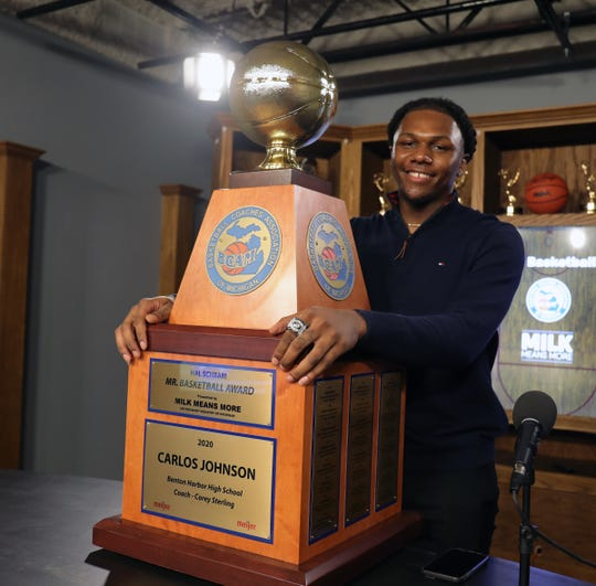 "2020 Michigan Mr. Basketball winner Carlos ""Scooby"" Johnson of Benton Harbor on March 23, 2020."