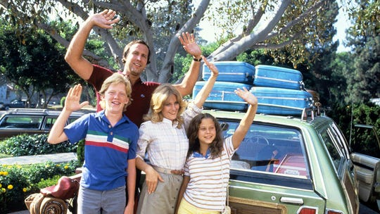 """Anthony Michael Hall, Chevy Chase, Beverly D'Angelo and Dana Barron in """"National Lampoon's Vacation."""""""