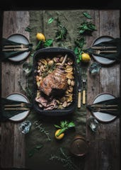 Roast Leg of Lamb with Potatoes and Lemon