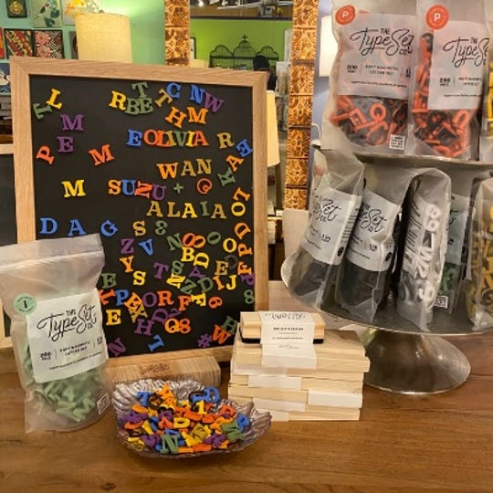 Type Set Co.'s Magnetic Chalkboard and Foam Letters can be ordered by phone or email from Leon & Lulu.