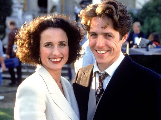 """Andie MacDowell and Hugh Grant in """"Four Weddings and a Funeral."""""""
