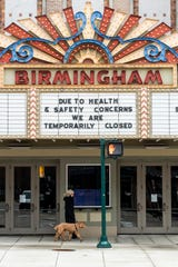 The Birmingham movie theater, in downtown Birmingham, is closed due to the coronavirus, March 23, 2020.