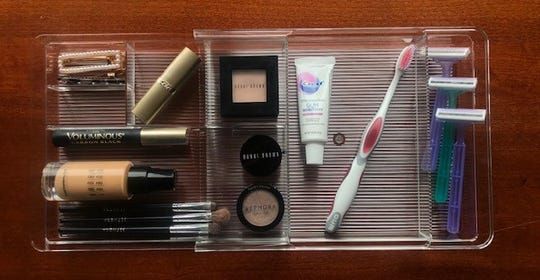 Clear bins are a great way to organize cosmetics and other items in you bathroom drawers.