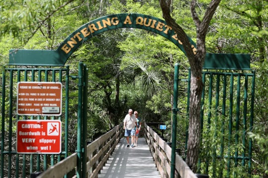 County parks remain a popular destination amid COVID-19 outbreak. Six Mile Slough in Lee County is quiet but had a steady stream of visitors Monday afternoon.