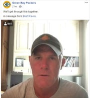 "Former Green Bay Packers quarterback Brett Favre urges fans in a Facebook video to ""follow the rules and guidelines"" to help slow the spread of the new coronavirus. The video was posted on the Packers' Facebook page on Sunday, March 22, 2020."