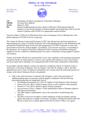 Above is a the first page of a two-page executive order issued Monday by Gov. Steve Bullock.