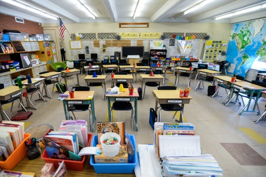 A classroom at Sunnyside Elementary School, March 17, 2020.  The state ordered all public schools, including the Great Falls Public Schools, to close starting March 16 to help combat the spread of the coronavirus.
