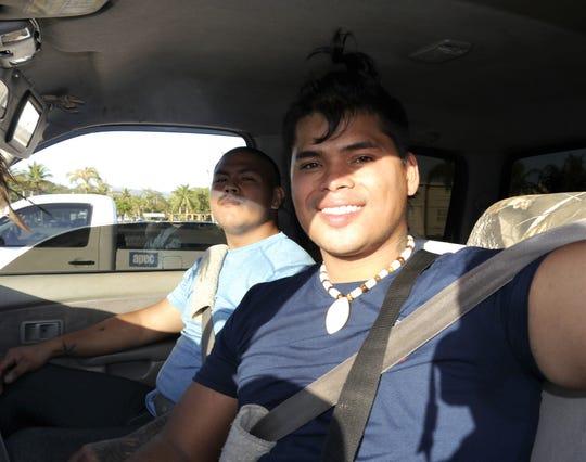 Roland Meno of Inarajan and Robbie Wells at Tamuning, Guam Home Depot, March 23, 2020