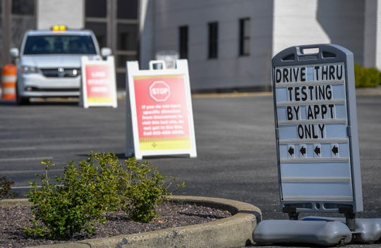Drive-through coronavirus testing is set up at Henderson's Methodist Hospital's main entrance for people that are approved for testing through a screening process.