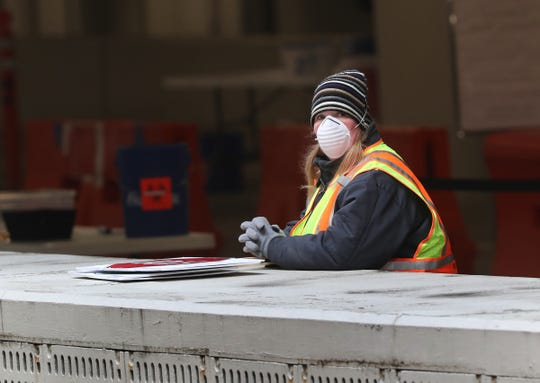 Workers prepare for drive-through COVID-19 testing at Lilly, Monday, March 23, 2020.  Testing is for Indianapolis health care workers.