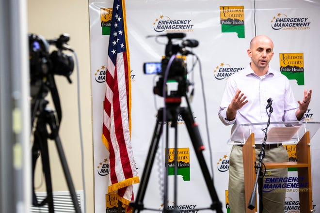Geoff Fruin, Iowa City city manager, speaks during a press conference providing updates on the novel coronavirus, Monday, March 23, 2020, at the Johnson County Emergency Operations Center in Iowa City, Iowa.