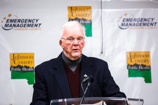 Terry Donahue, mayor of North Liberty, speaks during a press conference providing updates on the novel coronavirus, Monday, March 23, 2020, at the Johnson County Emergency Operations Center in Iowa City, Iowa.