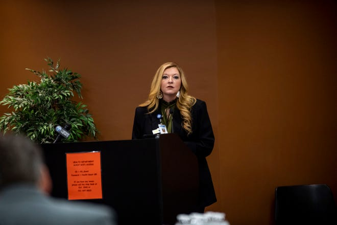 Chief Compliance and Communications officer, Amy Garner, speaks during a press conference with west Tennessee leaders in Jackson to update the community about the public health in the local community about  coronavirus, or COVID-19 at Jackson-Madison County Regional Health Department in Jackson, Tenn. Monday March 23, 2020.