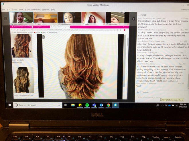 Shawn Reynolds, cosmetology instructor for South Louisiana Community College, holds class via WebEx to virtually go over different kinds of haircuts on Monday, March 23, 2020.