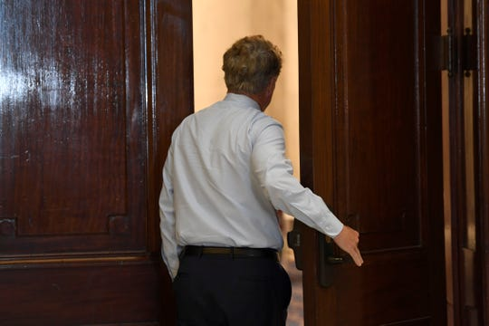Sen. Rand Paul, R-Ky., arrives for a Republican policy lunch on Capitol Hill in Washington, Friday, March 20, 2020. Paul tested positive for the coronavirus. (AP Photo/Susan Walsh)