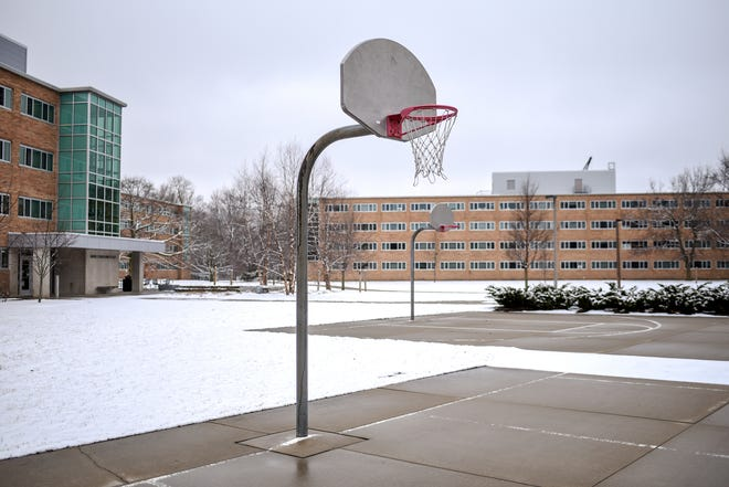 An empty basketball court in the Brody neighborhood photographed on Monday, March 23, 2020, on the Michigan State University campus in East Lansing.
