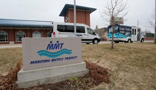 The exterior of the Maritime Metro Transit station, Monday, March 23, 2020, in Manitowoc, Wis.