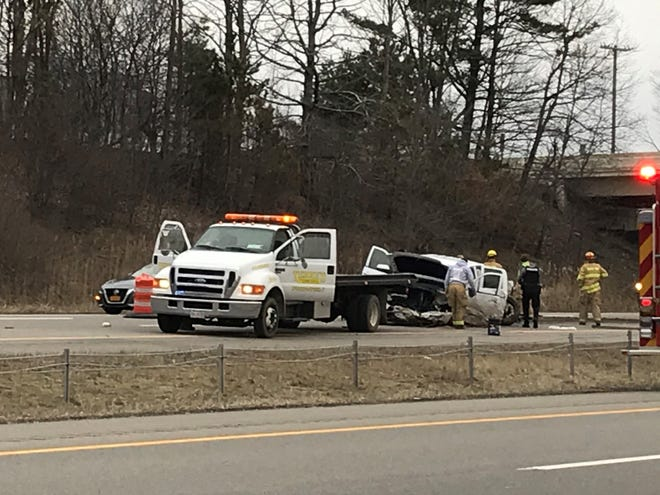 Ohio Highway Patrol troopers pulled the unconscious driver from this pickup after it burst into flames after crashing into a trooper's vehicle near Ohio 13 in Richland County.