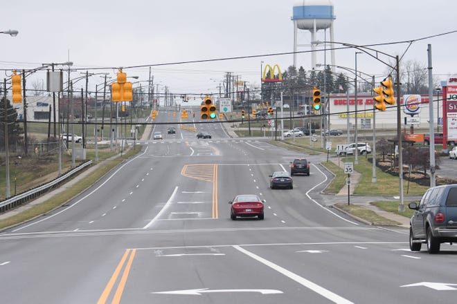 This usually busy stretch of Lexington-Springmill Road had significantly less traffic on Monday afternoon. Local law enforcement officials said most Mansfield residents are observing Ohio's stay-at-home order to combat the spread of COVID-19.